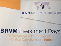 1st edition of the BRVM Investment Days The 30th of september and the 1st of october 2014